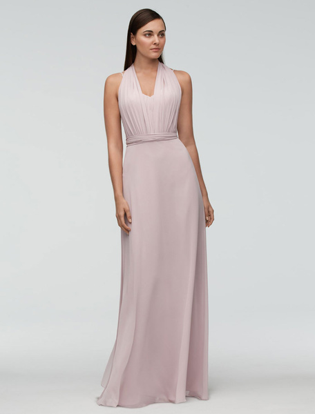 Chiffon Bridesmaid Dress Pink Floor-length Wedding Party Dress Halter Backless A-line Occasion Dress