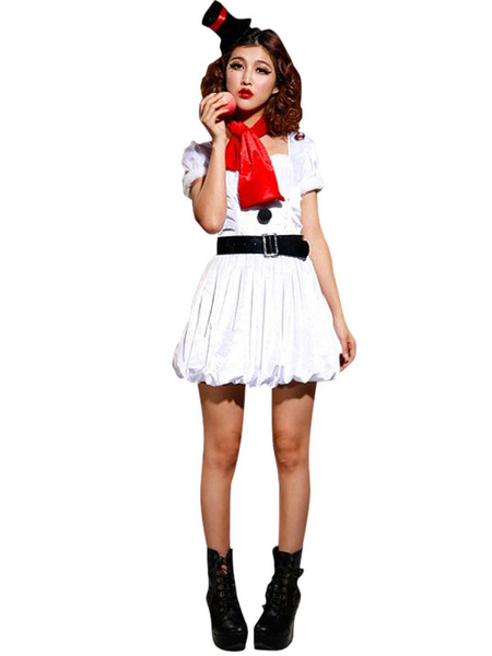 Christmas Costume Outfits White Pleated Belted Skater Dress In 4 Piece For Women