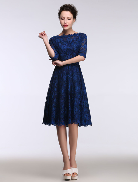 Lace Mother's Dress Short Bateau Prom Dress Half Sleeve A Line Knee Length Cocktail Dress