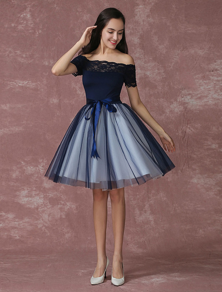 Blue Prom Dress 2017 Short Off The Shoulder Prom Dresses Tulle Dark Navy Homecoming Dress Milanoo