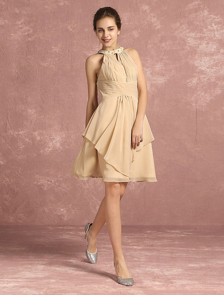 Chiffon Cocktail Dress A Line Short Prom Dress Halter Pleated Sleeveless Knee Length Party Dress