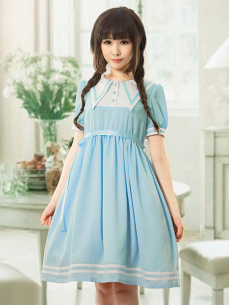 Sweet Lolita Dress OP Light Blue Lolita Dress Sailor Pleated Chiffon Dress
