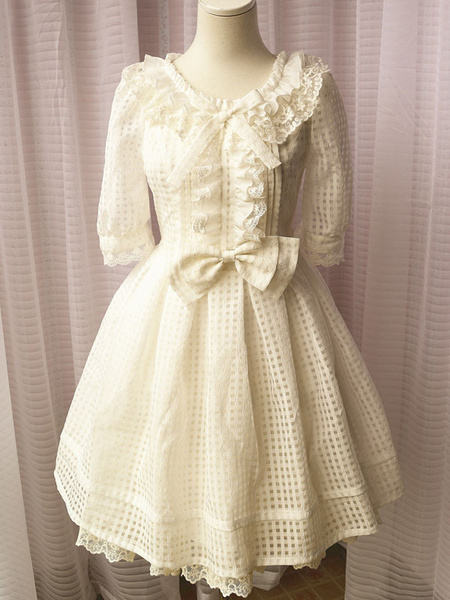 Sweet Lolita Dress OP White Lolita Dress Kawaii Plaid Organza Lolita Dress