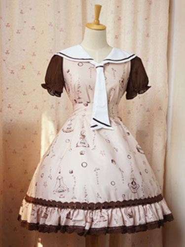 Sweet Lolita Dress Doris OP Khaki Lolita Dress Sailor Collar Short Sleeve Chiffon Dress