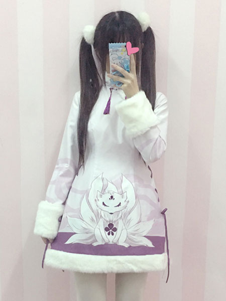 Sweet Lolita Coat White Cheongsam OP Dress Kyuubi Kitsune Floral Fur Trim