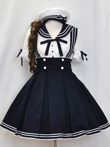 Sailor Lolita Outfits Deep Blue Short Sleeve Shirt With Pleated Jumper Skirt