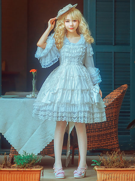 Sweet Lolita Dress OP White Short Sleeve Lolita One Piece Dress