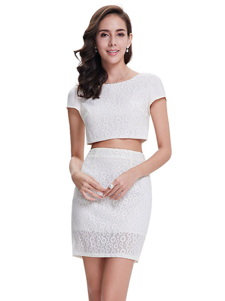 Lace Cocktail Dress 2 Piece Mini Prom Dress White Round Neck Short Sleeve Sheath Party Dress