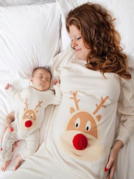 Image of Per Donna Pigiama natalizio per la famiglia divertente Top bianco con pantaloni Pigiama mattutino
