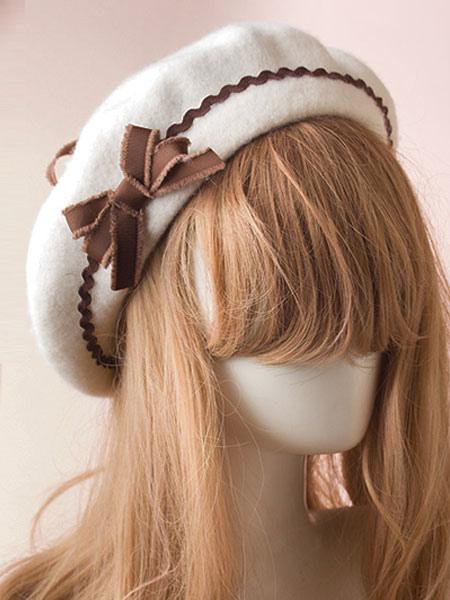 Image of Dolce berretto Lolita Bow Pom Pom Berretto lana Lolita