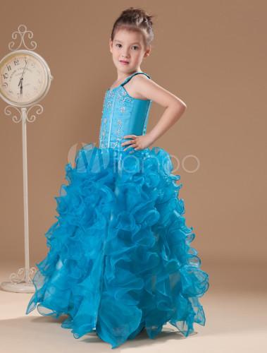 Vestidos azul turquesa de nina