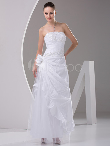 dresses to attend a wedding a line strapless floor length satin wedding gown milanoo 3729