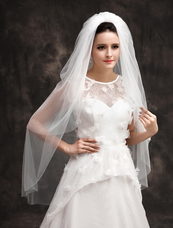 supercut haircut price white polyester two tier cut edge brides wedding fingertip 3477