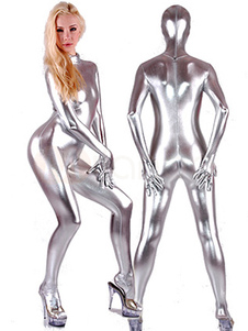 Sexy Shiny Silver Spandex Catsuit