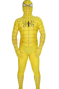 Yellow Spiderman Costume Suit Outfit Zentai with Black Stripes