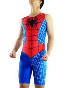 Spiderman Catsuit Half Length Sleeveless Lycra Spandex Super Hero Costume