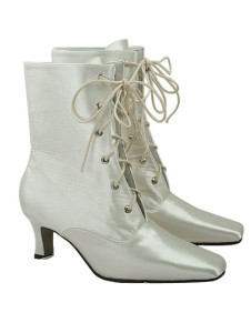 Ivory Satin Lace Front Ankle High Wedding Boots