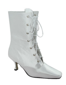 White Satin Lace Front Wedding Boots