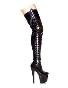 7 910 High Heel 3 910 Platform Thigh High Black Patent Lace Ties Sexy Boots