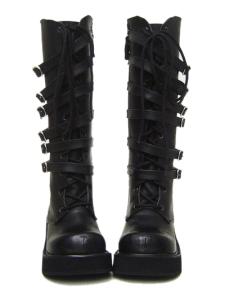 2 Heel With 1 15 Platform Black Lace Tie Buckle PU Lolita Boots