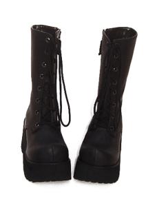 3 110 Heel With 2 Platform Black Lace Tie PU Lolita Boots
