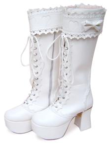 3 12 Heel 2 Platform White Lace Tie Bow PU Lolita Boots