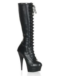 5 710 Heel 1 45 Platform Black Lace Tie Matt Leather Womens Mid Calf Boots