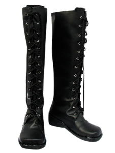 Black Lace Tie Imitated Leather Rubber Cosplay Boots