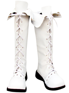 White Lace Tie Imitated Leather Rubber Cosplay Boots