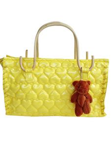 Cute 381328cm Yellow PU Leather Womens Tote Handbag