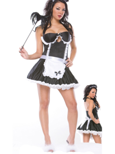 Hot Black Halter Womens Sexy Maid Costume