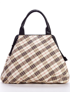 New Modern Yellow Checked PU Womens Tote Handbag