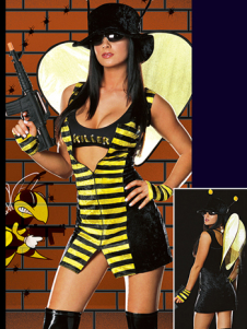 Hot Black And Yellow Stripe Cotton Womens Sexy Bee Costume