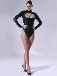 Sexy Black Shiny Metallic Catsuit For Women