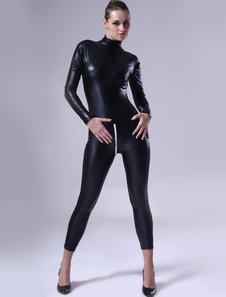 Black Women Shiny Metallic Catsuitt Halloween Cosplay costume