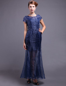 Royal Blue Lace Short Sleeve Ladies Special Occasion Dress