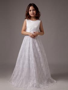 White Floor Length Aline Satin Round Neck First Communion Dresses
