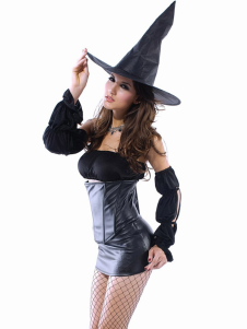 Gray Black Acrylic PVC Strapless Halloween Witch Costume