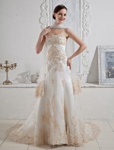 Glamorous Chapel Train White Bridal Wedding Gown with Aline Strapless Beading