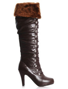 Furry Brown PU Leather Lace Up Womens Over The Knee Boots