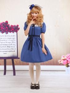 Blue Short Sleeves Lace Sash Cotton Sweet Lolita Dress