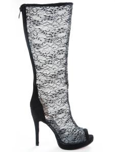 Black Open Toe Lace Mesh Womans Knee Length Boots