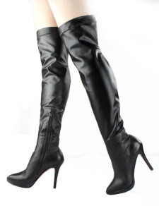 Grace Black Cow Leather Zipper High Heel Over The Knee Boots