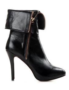 Vintage Black Cow Leather Side Zipper High Heel Boots
