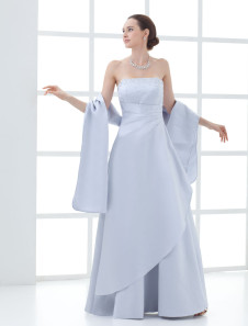 Strapless Beading Wrap Satin Mother Of Bride And Groom Dress