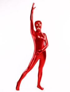 Sexy Red Catsuit Shiny Metallic Catwoman Full Bodysuit Costume