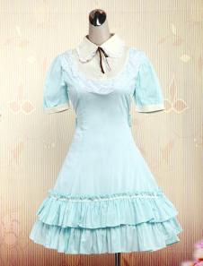Light Blue Short Sleeves Cotton Sweet Lolita Dress