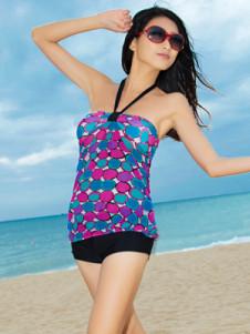 Printed Polyester One Piece Halter Womens Tankini Swimwear