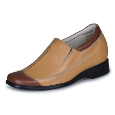 Casual Yellow Cow Leather PVC Sole Mens Taller Shoes