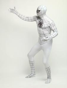 White Black Stripe Spiderman Zentai Catsuit Lycra Spandex Unisex Black Spider Print